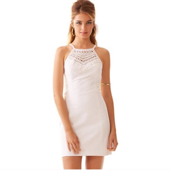 Lilly Pulitzer crocheted top pearl shift- white/00